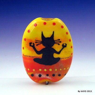 """Paws and Reflect"" Bykayo Handmade Meditating Cat Lampwork Glass Focal Bead SRA | eBay"