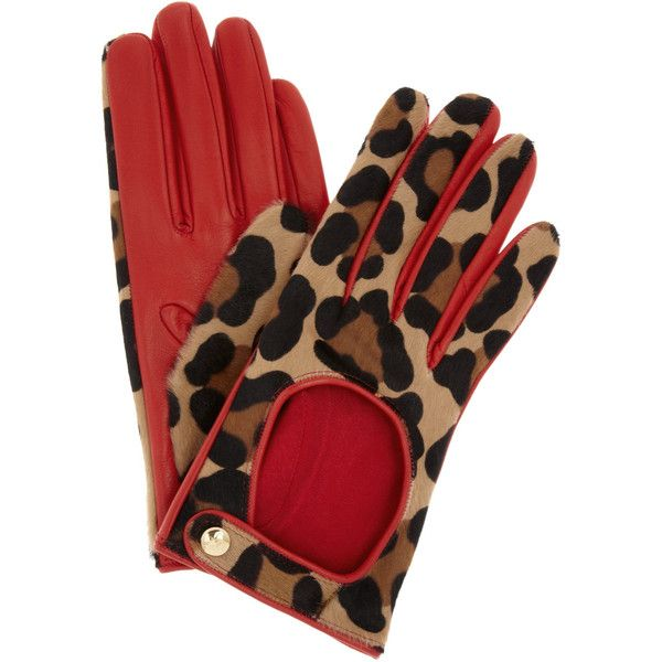 Agent Provocateur Leopard-print calf hair driving gloves (9.895 RUB) ❤ liked on Polyvore featuring accessories, gloves, luvas, animal print, guanti, red driving gloves, animal print gloves, agent provocateur, leopard print gloves and leopard gloves
