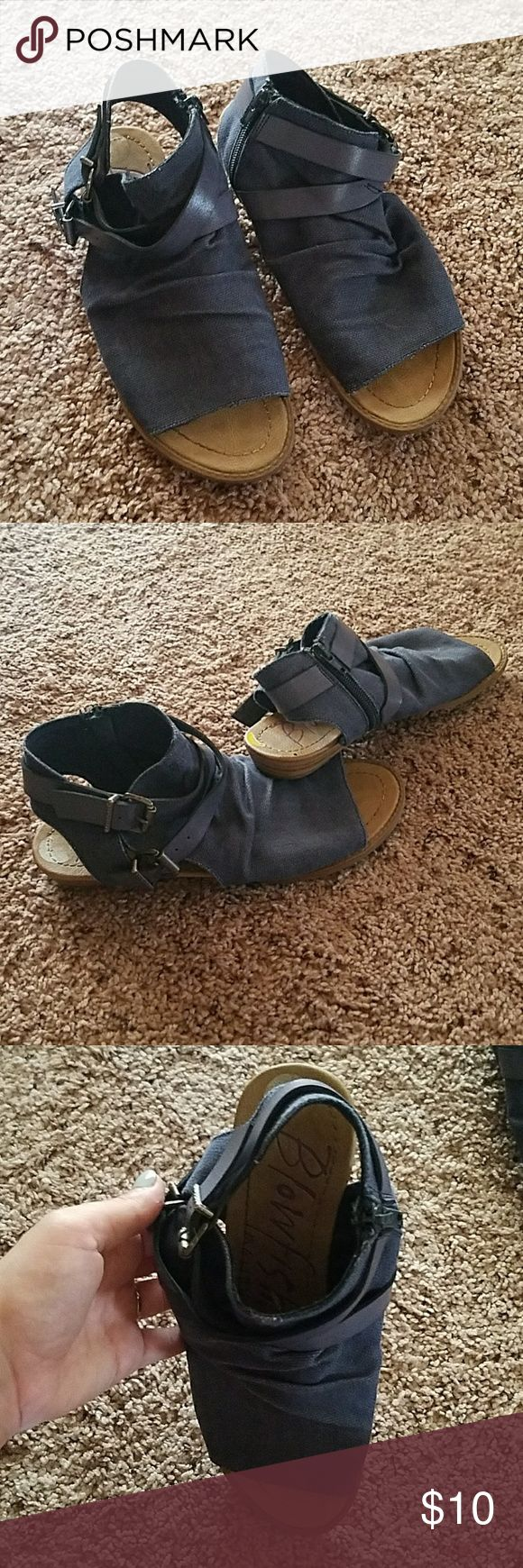 Blowfish navy zip up ankle flats Blowfish flats! Lovely navy canvas flats with beige base. Zips up on side of ankle Blowfish Shoes Ankle Boots & Booties