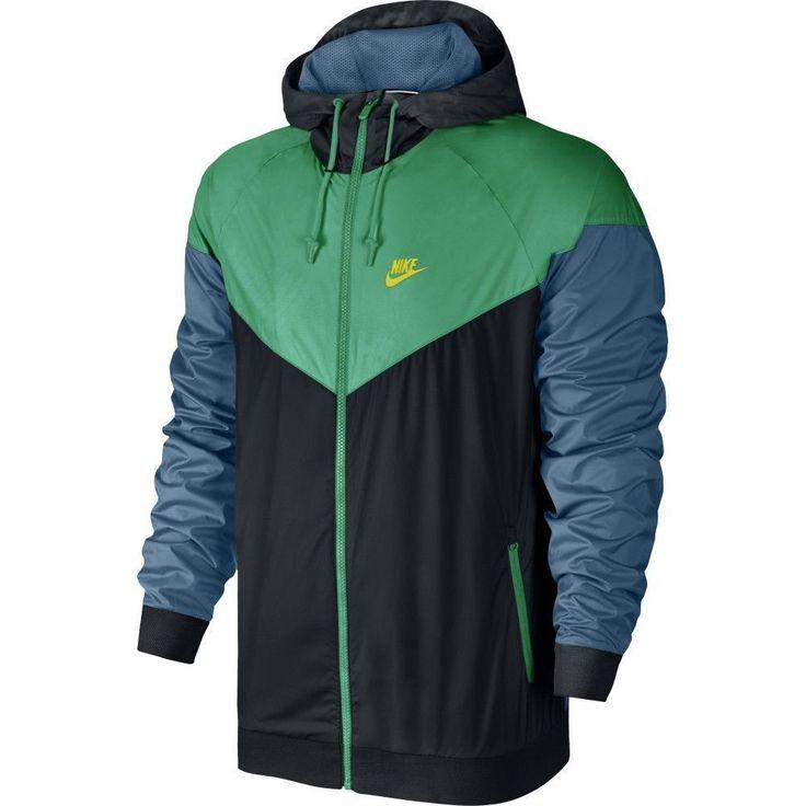 Men's Nike Windrunner Jacket BLACK/STADIUM GREEN/ELECTROLIME 727324-011 2XL XXL #Nike #Hoodie