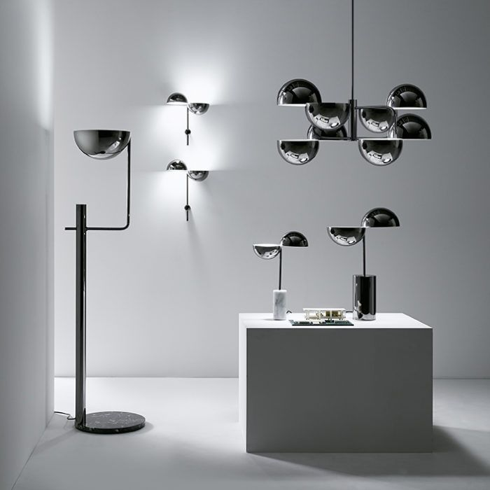 Pendants with metal structure in glossy black nickel. Available in two sizes: large with 8 lights and small with 4 lights.