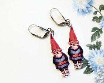 Garden Gnomes Earrings. Amelie Inspired. Vintage kitsch hanging earrings. Red and Blue Gnome