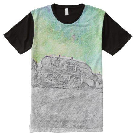 black white House and sky with color drawing All-Over-Print T-Shirt - click to get yours right now!