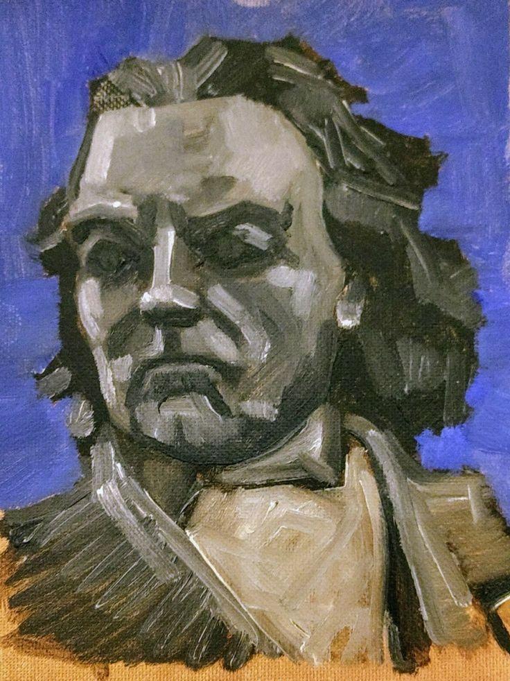 Beethoven por Gastón moreno, pintura acrilica