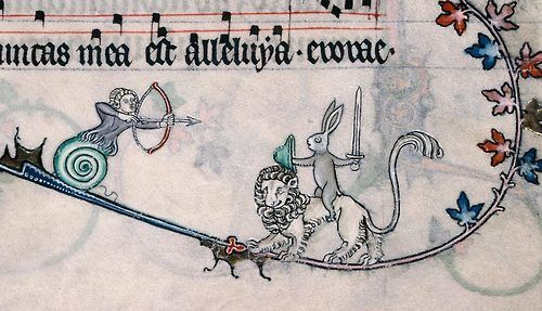 """sexycodicology:  The archer-snail-man didn't hear King Arthur's words: """"Well, we'll not risk another frontal assault. That rabbit's dynamite..."""