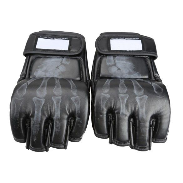 Pair of Boxing Fight Gloves Sparring Grappling UFC Mitts MMA Sanda Black