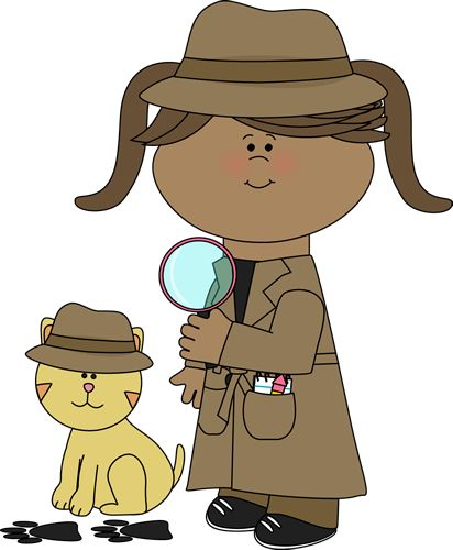 Detective girl following clues with her pet detective cat from MyCuteGraphics