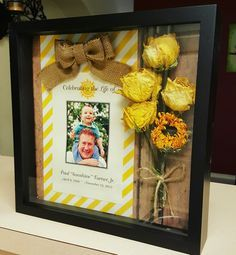 Shadow Memorial box made with flowers from my dad's funeral.
