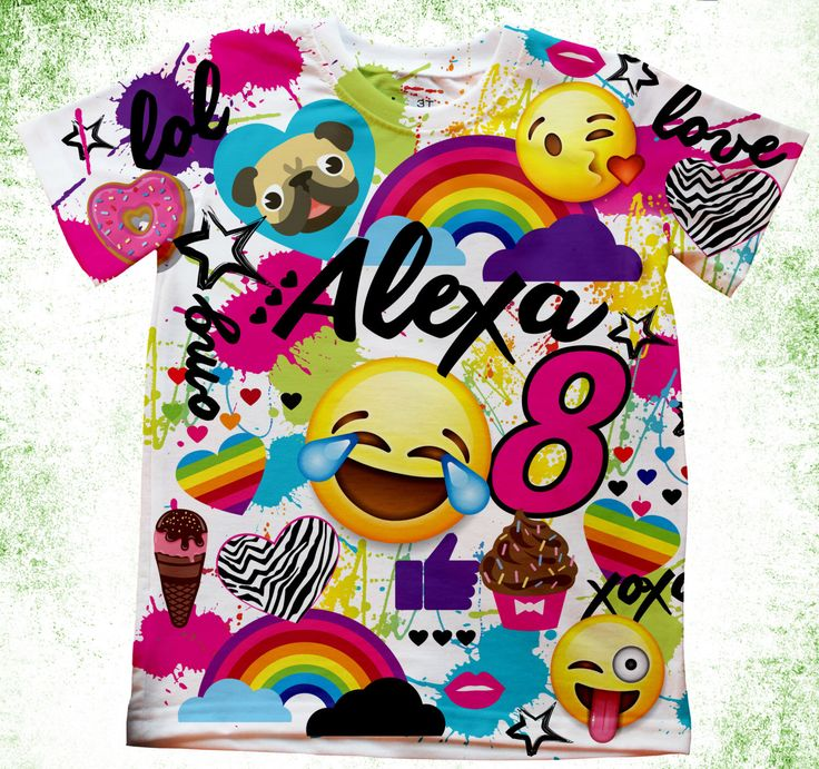 Personalized Emoji Inspired T-shirt, Emoji Birthday, Birthday Emoji Shirt, Emoji Party Girls, Pug and Emoji Custom Shirts, Girls Emoji tee by Personalizedkiddie on Etsy https://www.etsy.com/listing/503490279/personalized-emoji-inspired-t-shirt