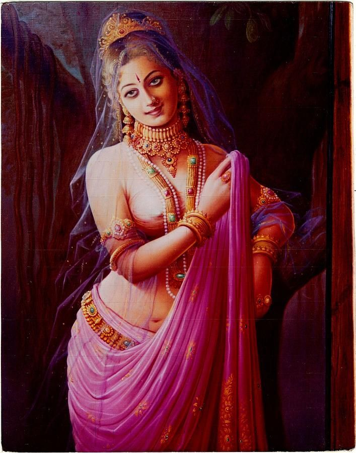 http://artistamarsoni.blogspot.com.ar/2013_03_01_archive.html Apsara Urvashi by Kishan Soni. The main point of view of this painting is jewelery and her seductive eyes.