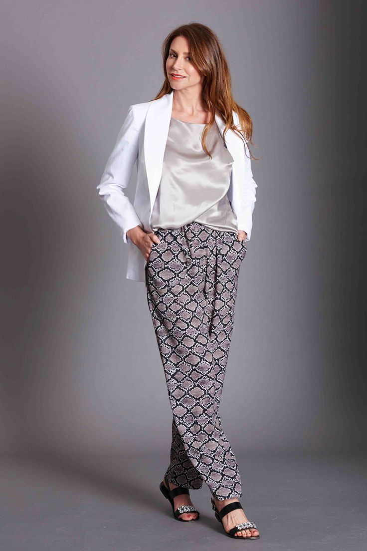 Relaxed pant in Snake print, Silk satin dress worn as a top, white 100% cotton tuxedo jacket.