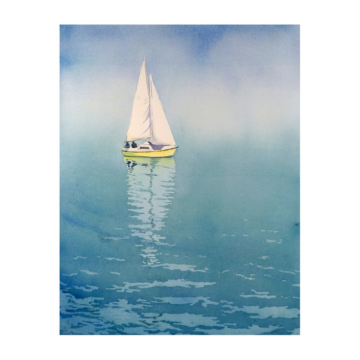 Sail Boat Art Watercolor Print Spring Summer by WatercolorByMuren, $28.00