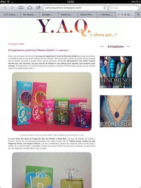Concurso abierto. En el Blog de Josefina que se llama Y. A. Q. hay un set completo de Colonias Gelatti In Love esperandolas suerte