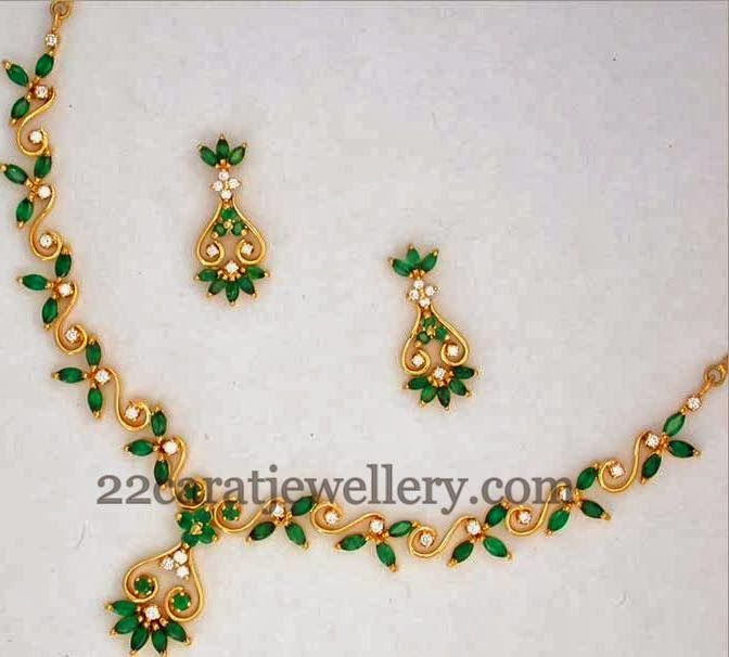 Jewellery Designs: Colorful Light Weight Gemstone Necklace