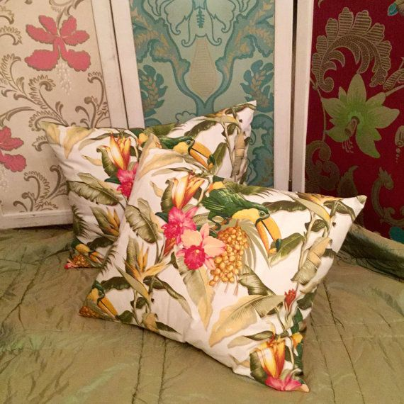Exotic interior design ideas! Designer decorative pillow featuring a colorful exotic print, silk green taffeta on the back. Tropicana luxury pillow by MyCushionBoutique.