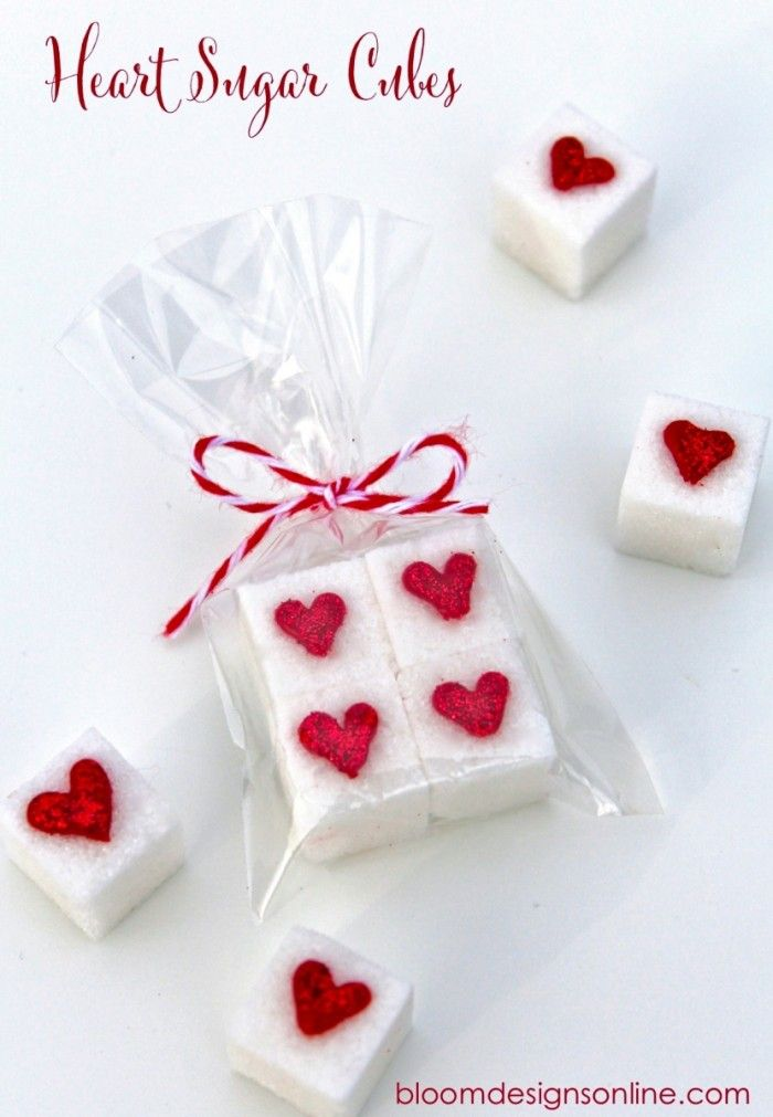Valentine Sugar Cubes How-To ~ Serve along side morning coffee or use a chocolate covered pretzel bag to package a few to give as gifts