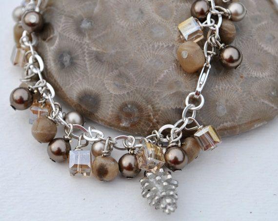 Sterling Silver Bracelet of Petoskey and Swarovski by Beechtree, $50.00
