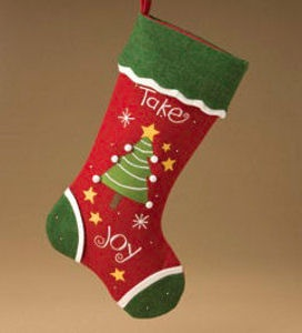 """Take Joy Christmas Stocking. Free Ground Shipping. Hang this Take Joy Christmas Stocking for Santa from your fireplace.Made of Wool Challis. Approximately 18"""" Tall. Wipe with Damp Cloth. $21.99.  http://www.happyholidayware.com/Christmas-Indoor-Decorations-Stockings.htm"""