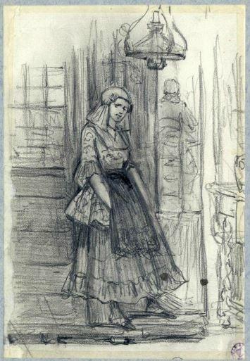 Afbeelding van een staande vrouw in Friese klederdracht in een interieur. 1875-1885 J. Hoevenaar Wz.; potlood #Friesland