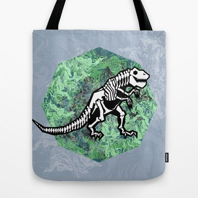T. Rex Fossil Tote Bag by chobopop - $22.00