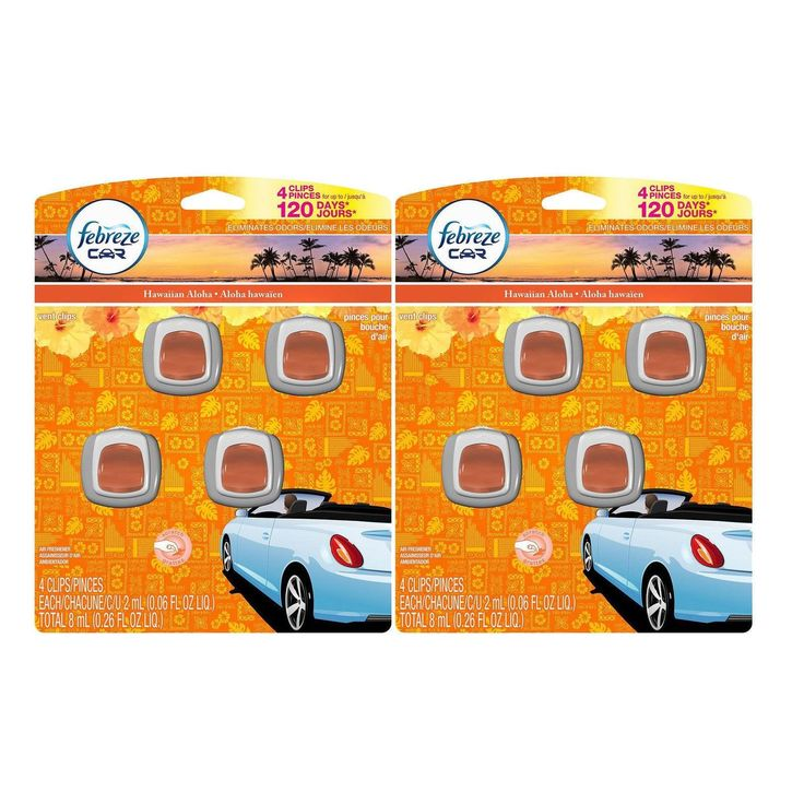 Febreze Car Vent-Clips Air Fresheners Hawaiian Aloha 4 Count 0.26 Fl. Oz. 2 Pack