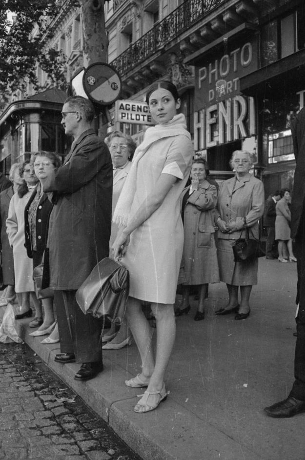 Paris 1966. Russian ballerina Sonia Petrovna waiting for the bus