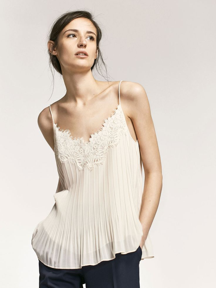 Autumn Spring summer 2017 Women´s PLEATED TOP WITH LACE TRIM DETAIL at Massimo Dutti for 65.5. Effortless elegance!
