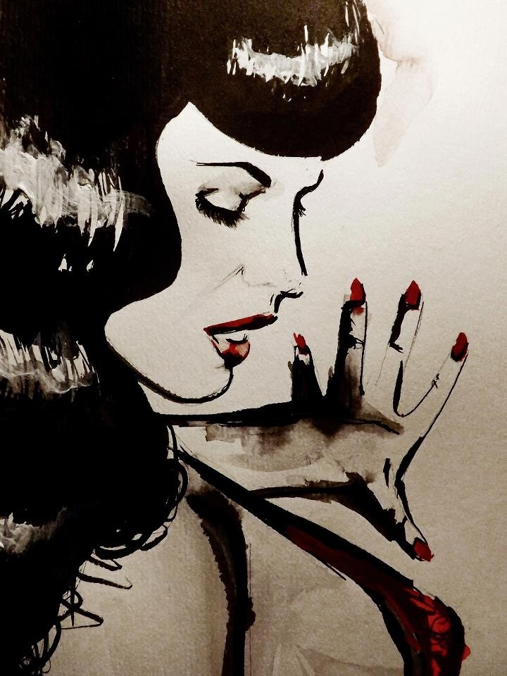 Pin-Up Art  Bettie Page  Watercolors | Ink | Acrylic