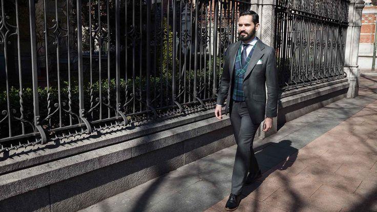 Grey Suit, BirdsEye, Tartan Vest,