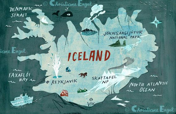 Islandia mapa impresión Digital / ilustración tipografía arte cartel / islandés arte nórdico pared / decoración de la pared de los cabritos