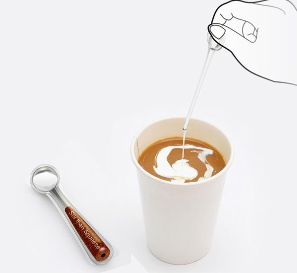 A spoon that contains creamer so you just squeeze and stir. Personally, I would have squeezed the handle to push the cremer from the spoon in the cup of coffee and then stir like a regular spoon.