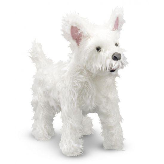 Knuffel hond witte Terrier 40 cm. West Highland White Terrier honden knuffel. West Highland Terrier knuffel van ongeveer 40 x 38 x 18 cm