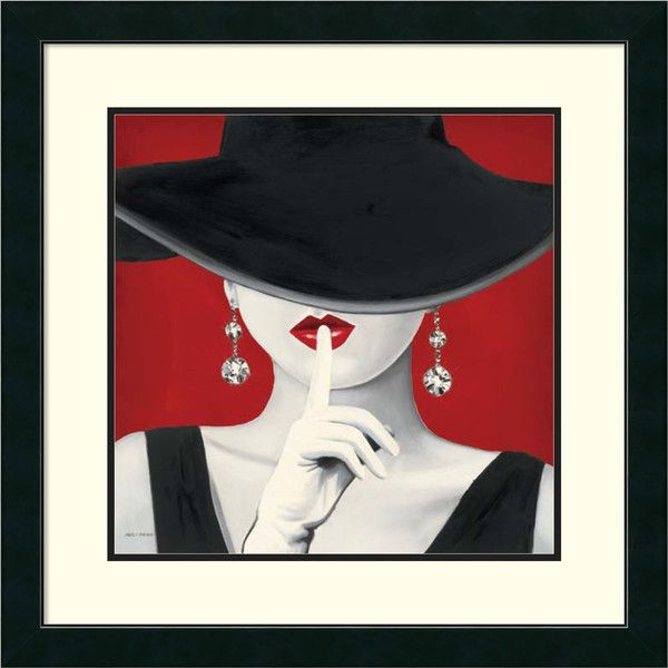 Marco Fabiano 'Haute Chapeau Rouge I' Framed Art Print 27 x 27-inch ($144) ❤ liked on Polyvore featuring home, home decor, wall art, framed wall art, girls wall art, outdoor figurines, outside wall art and outside home decor