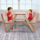 Wooden Outdoor Kids Children Picnic Table With Benches And Backrest  Portable