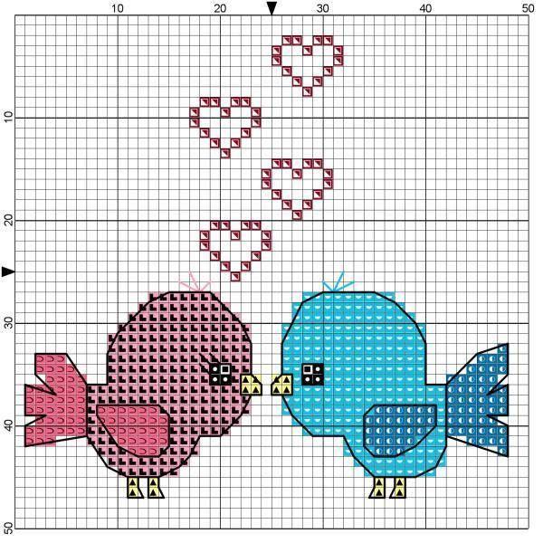 grafico punto de cruz pajaritos amor