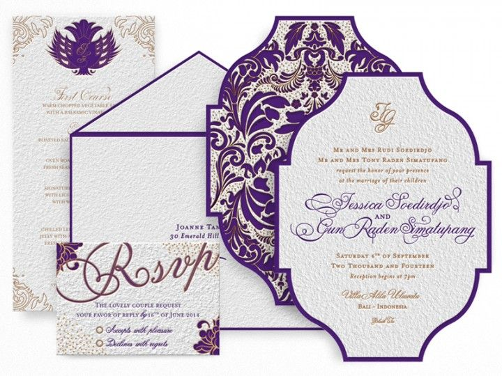 Indonesian Balinese Batik Inspired Wedding Invitation Cards