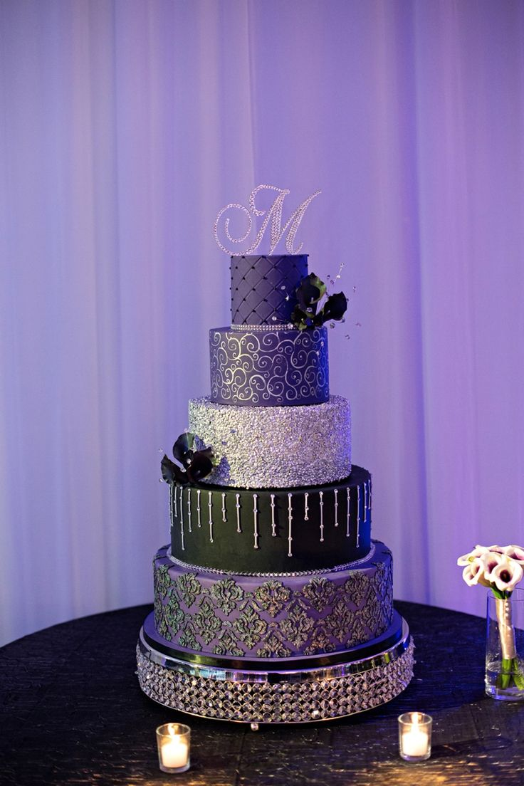 Dark Blue And Silver Wedding Cakes