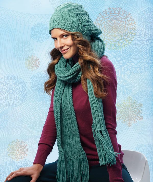 Beanie With Fantasy Pattern And Scarf Free Knit Pattern Knitting Women S Cowls Scarves