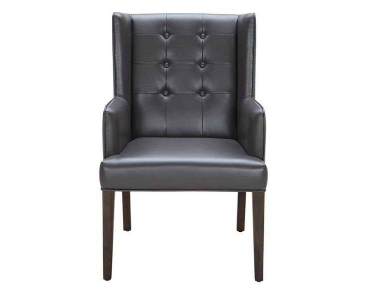CLARKSON ARMCHAIR   GREY LEATHER   This classically designed armchair features button tufting and a decorative square brass ring on the back. Stocked in grey and ivory bonded leather with espresso finished legs.