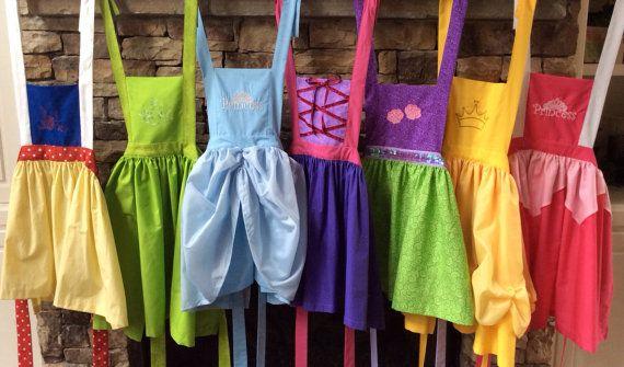 Set of 7 Disney Princess inspired Aprons