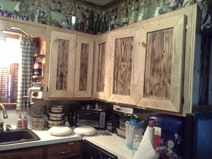 These kitchen items were made from recycled wooden pallets. The lights were made from small pallets then we added a …