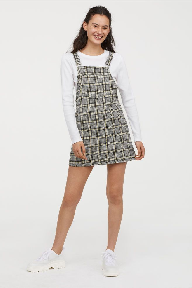 417fd6d96256 Checked Overall Dress - Yellow checked - Ladies