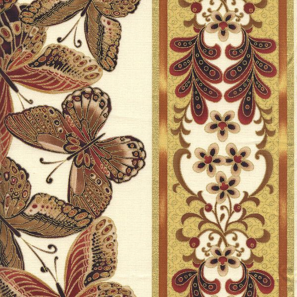 "Bronze Shimmer by Timeless Treasures - Butterflies 11"" Stripe - CM9295-Cream"