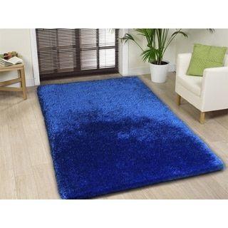 shop for handmade electric blue shag area rug 5u0027 x 7u0027