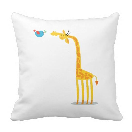 Jirafa y pájaro lindos del dibujo animado cojin