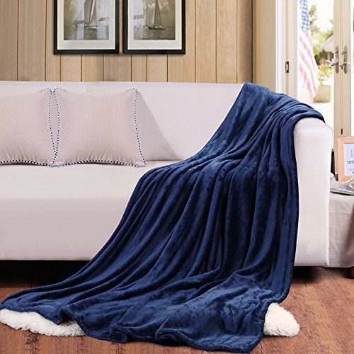 """Bedsure Thermal Flannel Blanket, Bed Blanket-100% Microfiber--Extra Soft, Lightweight, Easy Care, Super Warm, 90""""x90"""" (Navy) *** Learn more by visiting the image link."""