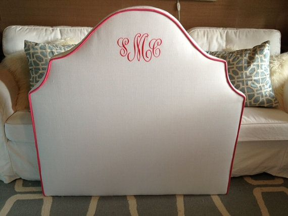 Twin Size Notched Upholstered Headboard White Linen Pink