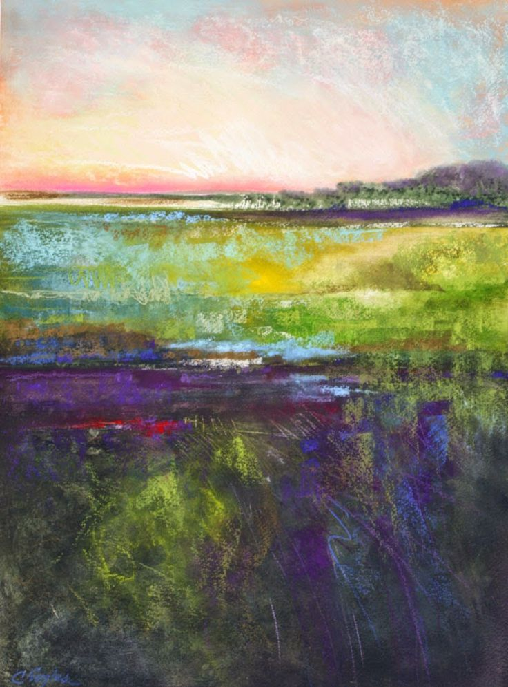 Carol Engles Art: Louisiana Pasture two, abstract landscape - Watercolor and Pastel on Paper