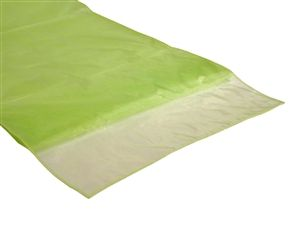 Apple green organza table runner can be used to tuck around birdcages..