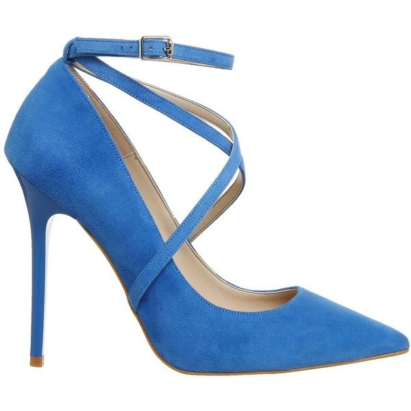 Office Hilton Cross Strap Point Courts Blue Suede ❤ liked on Polyvore featuring shoes, pumps, pointy shoes, suede shoes, blue suede pumps, blue color shoes and pointy-toe pumps
